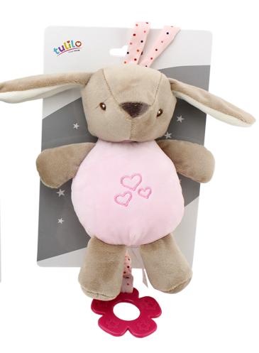 Tulilo Závesná plyšová hračka s melódiou Zajačík, 22 cm - ružový