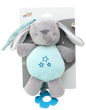 Tulilo Závesná plyšová hračka s melódiou Zajačík, 22 cm - mätový