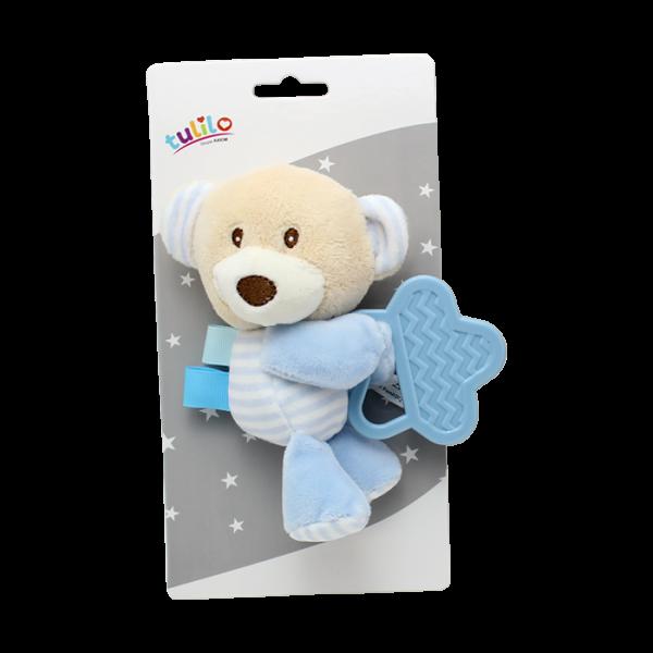 Plyšová hračka Tulilo s hryzátkom Medvedík, 16 cm - modrý