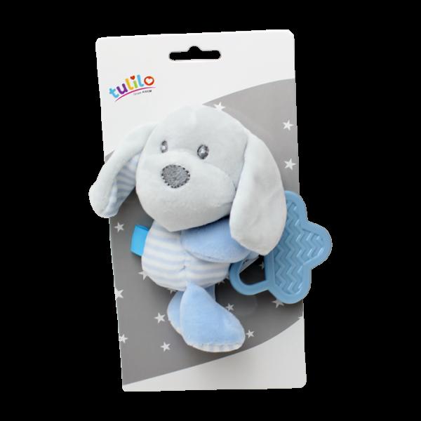Plyšová hračka Tulilo s hryzátkom Psík, 16 cm - modrý