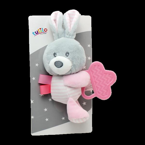 Plyšová hračka Tulilo s hryzátkom Zajačík, 16 cm - ružový