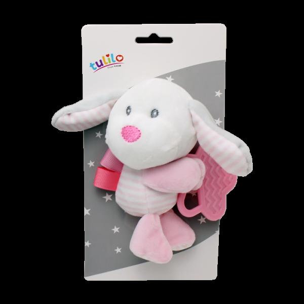 Plyšová hračka Tulilo s hryzátkom Psík, 16 cm - ružový