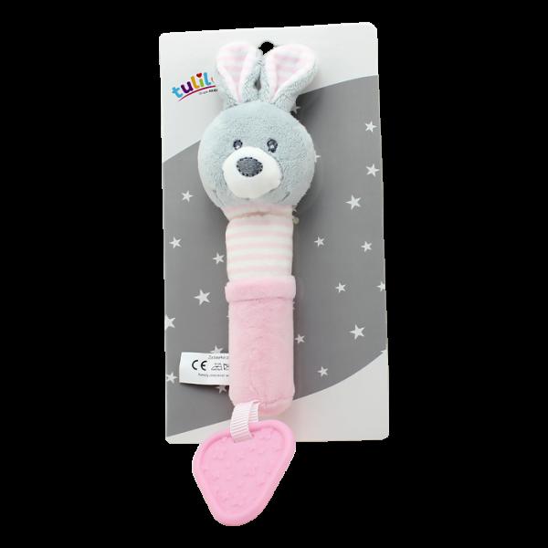 Plyšová hračka Tulilo s pískátkem a hryzátkom Zajačik, 17 cm - ružový