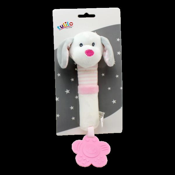 Plyšová hračka Tulilo s pískátkem a hryzátkom Psík, 17 cm - ružový