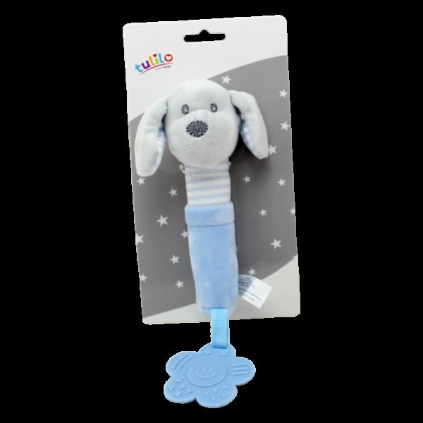 Plyšová hračka Tulilo s pískátkem a hryzátkom Psík, 17 cm - modrý