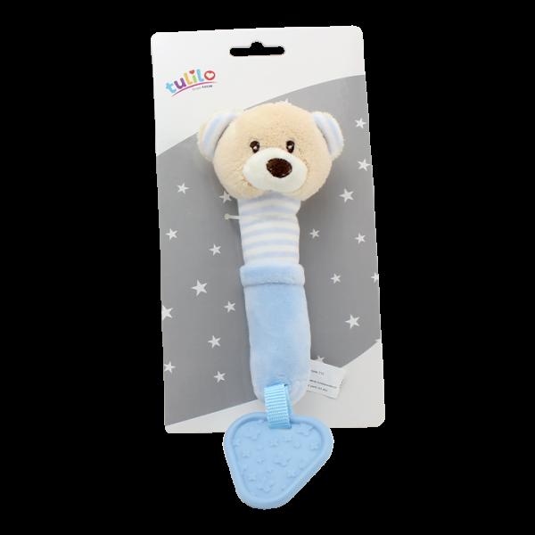 Plyšová hračka Tulilo s pískátkem a hryzátkom Medvedík, 17 cm - modrý