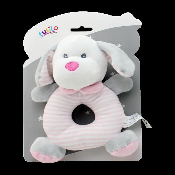 Plyšová hračka Tulilo s hrkálkou Psík, 17 cm - ružový
