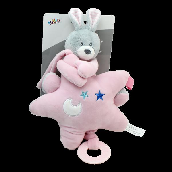 Závesná plyšová hračka Tulilo s melódiou Zajačik s hviezdou, 22 cm - ružový