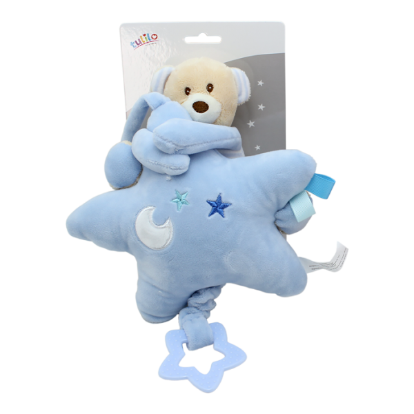 Závesná plyšová hračka Tulilo s melódiou Medvedík s hviezdou, 22 cm - modrý