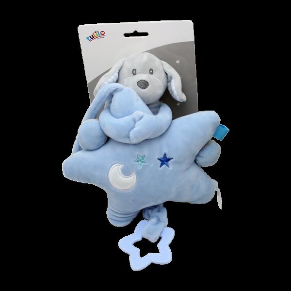 Závesná plyšová hračka Tulilo s melódiou Psík s hviezdou, 22 cm - modrý