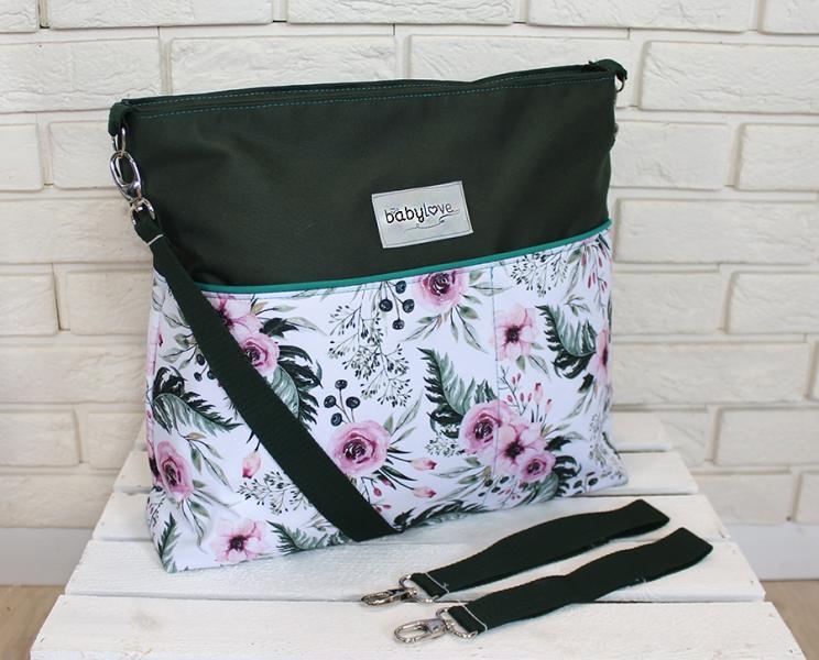 Štýlová taška na kočík Baby Nellys Hand Made - Květinky/flowers - zelená, Ce19