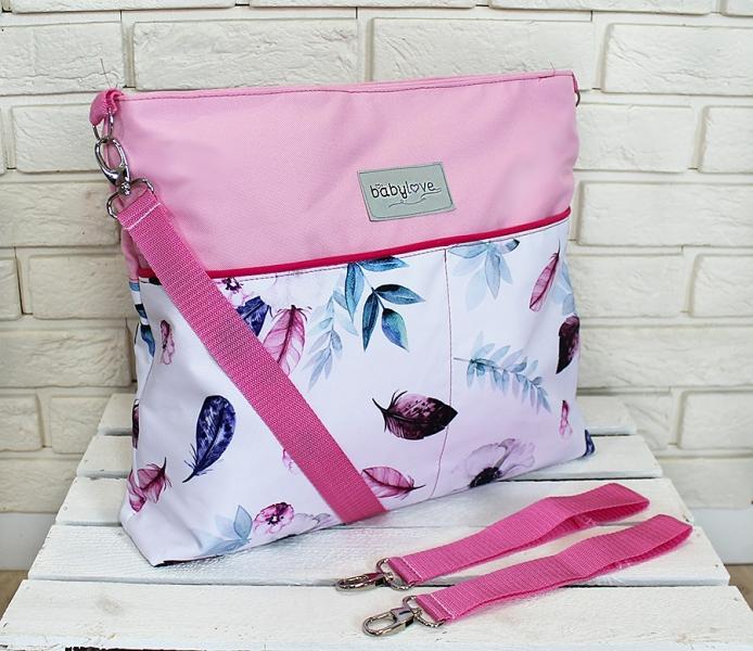 Štýlová taška na kočík Baby Nellys Hand Made - Listy - růžová, Ce19