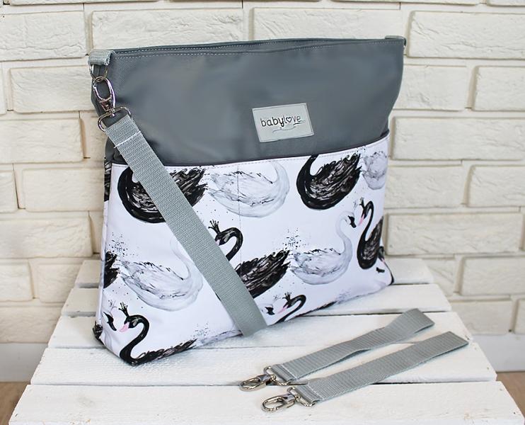 Štýlová taška na kočík Baby Nellys Hand Made - Labutě - sivá, Ce19