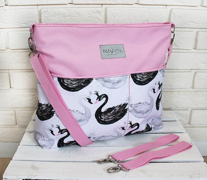 Štýlová taška na kočík Baby Nellys Hand Made - Labute - ružová, Ce19