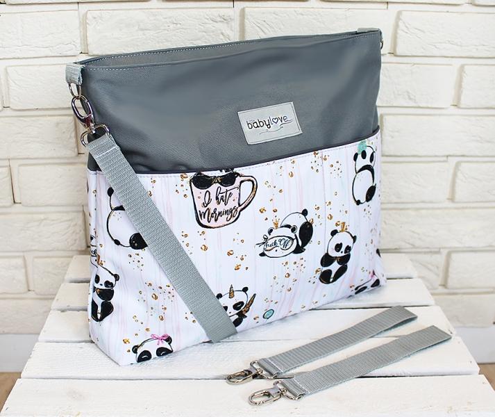 Štýlová taška na kočík Baby Nellys Hand Made - Panda - šedá, Ce19
