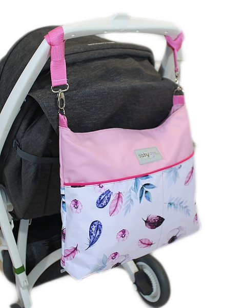 Mega sada do kočíka s taškou na kočík - Listy - růžová, Ce19