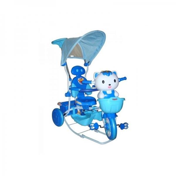 Detská multifunkčná trojkolka Euro Baby Mačička - modrá