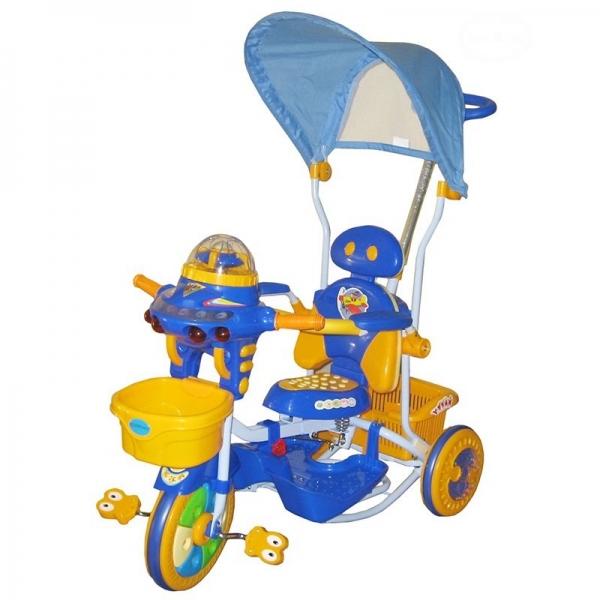Detská multifunkčná trojkolka Euro Baby Ufo - modro/žltá