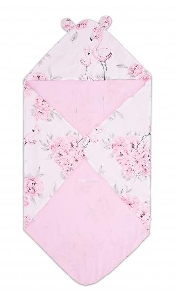 Bavlnená zavinovacia deka s kapucňou Baby Nellys - Plameniak, ružový
