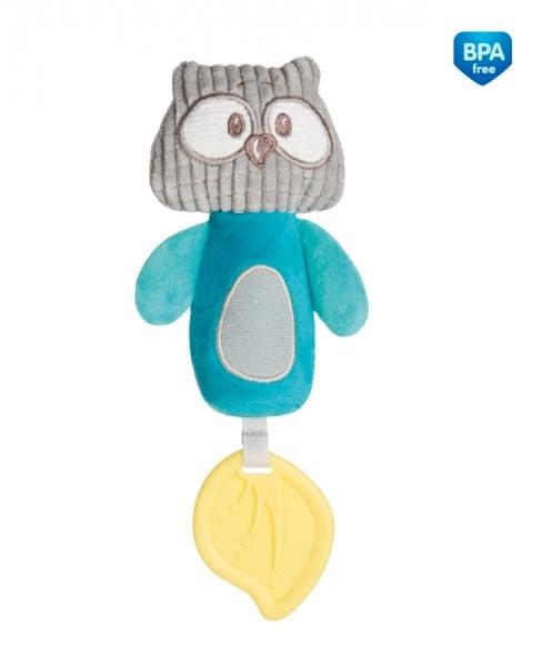 Plyšová pískacia hračka s pískátkem a hryzátkom Canpol Babies - Sova tyrkysová