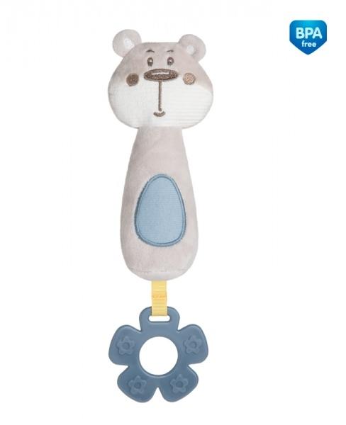 Plyšová pískacia hračka s pískátkem a hryzátkom Canpol Babies - Medvedík sivý