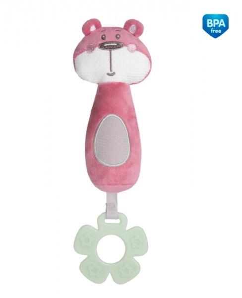 Plyšová pískacia hračka s pískátkem a hryzátkom Canpol Babies - Medvedík ružový