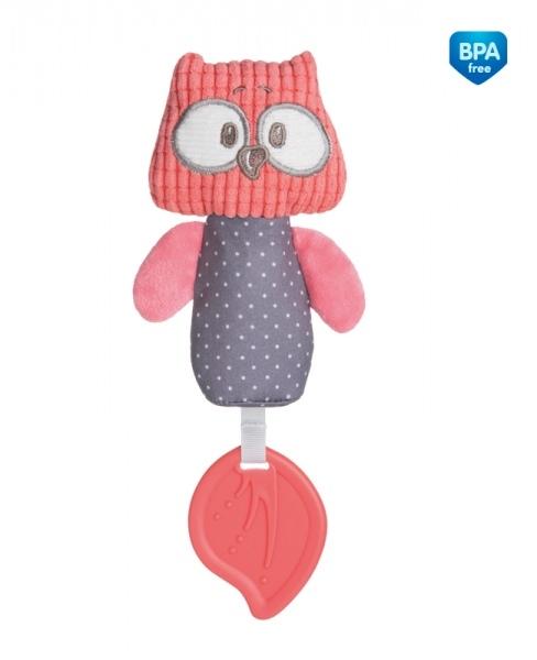 Plyšová pískacia hračka s pískátkem a hryzátkom Canpol Babies - Sova korálová