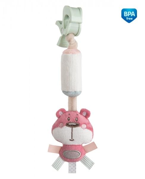 Plyšová hračka s rolničkou a klipom Canpol Babies - Medvedík ružový