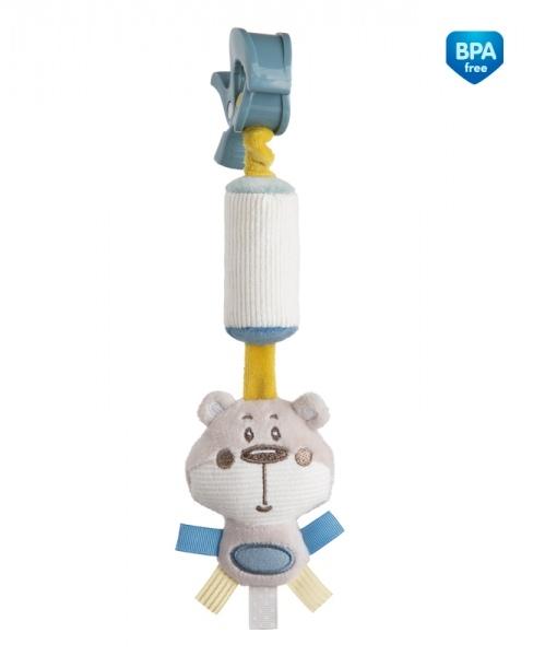 Plyšová hračka s rolničkou a klipom Canpol Babies - Medvedík sivý