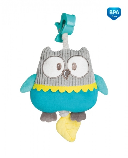 Plyšová hračka s melódiou a klipom Canpol Babies - Sova tyrkysová