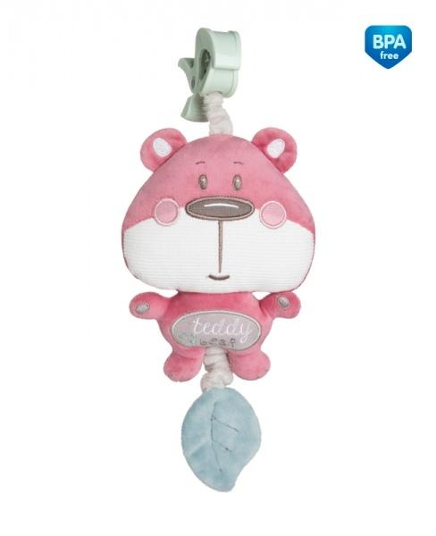 Plyšová hračka s melódiou a klipom Canpol Babies - Medvedík ružový