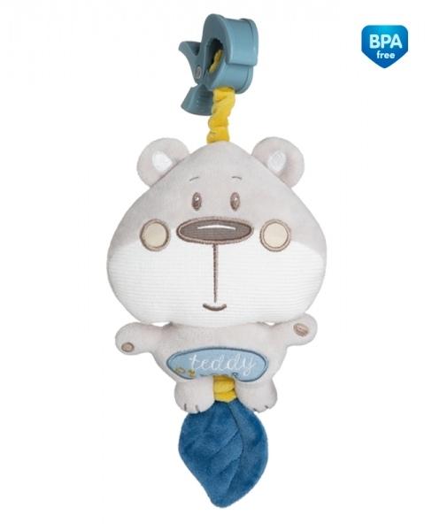 Plyšová hračka s melódiou a klipom Canpol Babies - Medvedík sivý