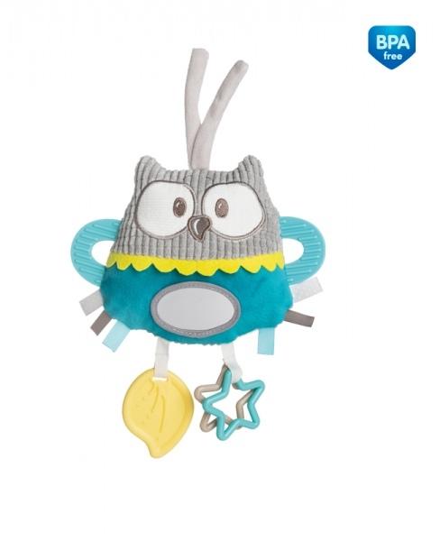 Plyšová edukačné hračka na zaväzovanie Canpol Babies - Sova tyrkysová