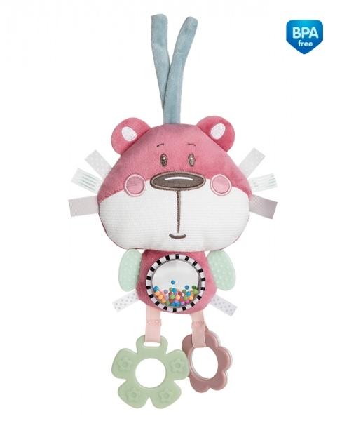 Plyšová edukačné hračka na zaväzovanie Canpol Babies -Medvedík ružový