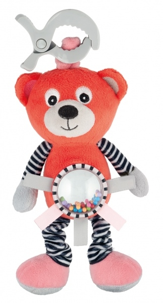 Plyšová hračka s klipom, vibrácií a hrkálkou Canpol Babies - Méďa koralový
