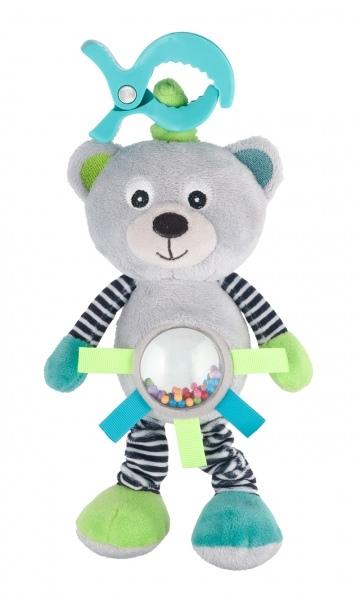 Plyšová hračka s klipom, vibrácií a hrkálkou Canpol Babies - Méďa sivý
