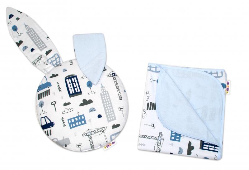 2-dielna súprava do kočíka Baby Nellys jersey s uškami, Mestečko - biela/sv.modrá