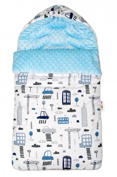 Bavlnený spací vak/fusák Baby Nellys, minky, Mestečko, 45 x 95 cm - biely/sv. modrý