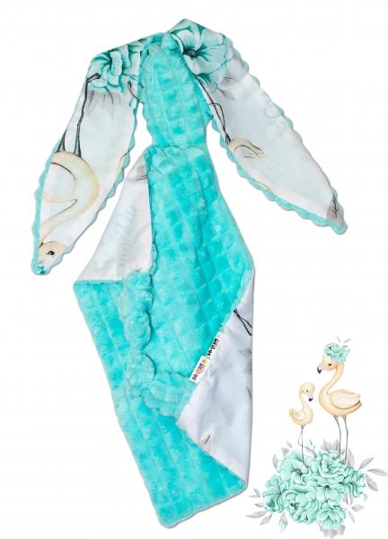 Baby Nellys Mazlík, přítulníček Králiček, Minky + bavlna, 43 x 40 cm - Plameniak mätový