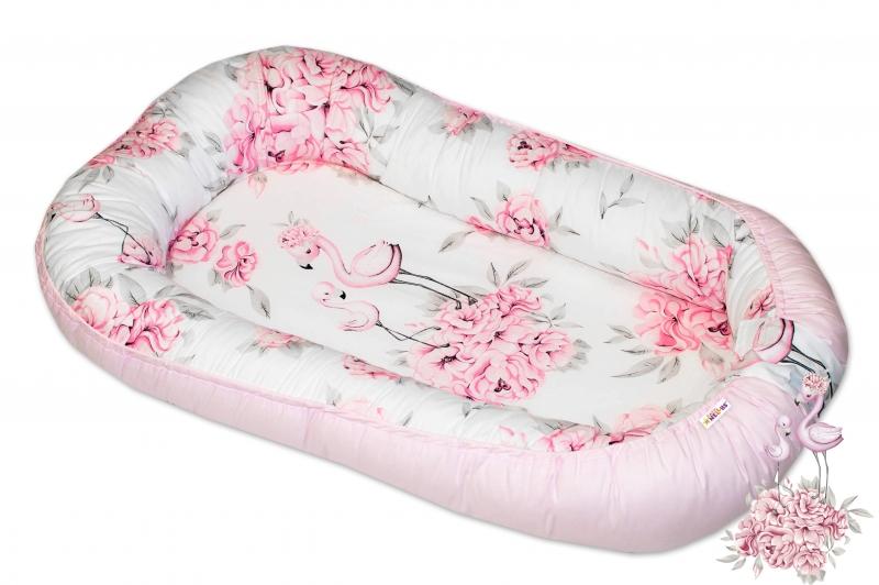 Obojstranné hniezdočko / kokon Baby Nellys, 70x93 cm, Plameniak ružový