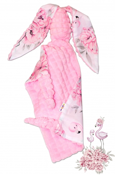Baby Nellys Mazlík, Maznáčik zajačik, Minky + bavlna, 43 x 40 cm - Plameniak ružový