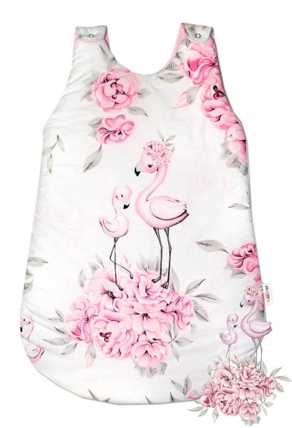 Bavlnený spací vak Baby Nellys, Plameniak, 74 cm - ružový