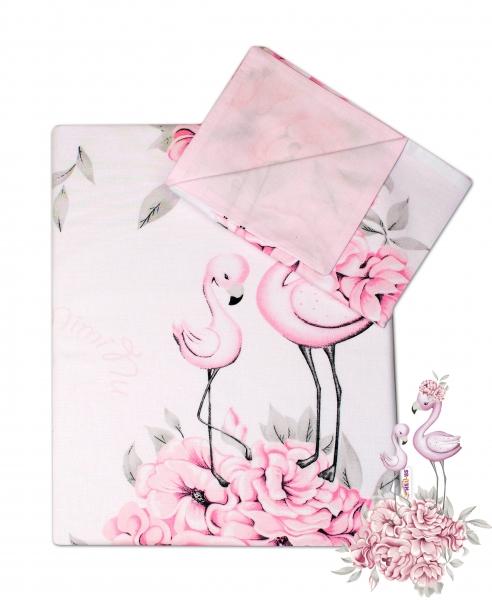 2-dielne bavlnené obliečky Baby Nellys - Plameniak ružový, 135x100 cm