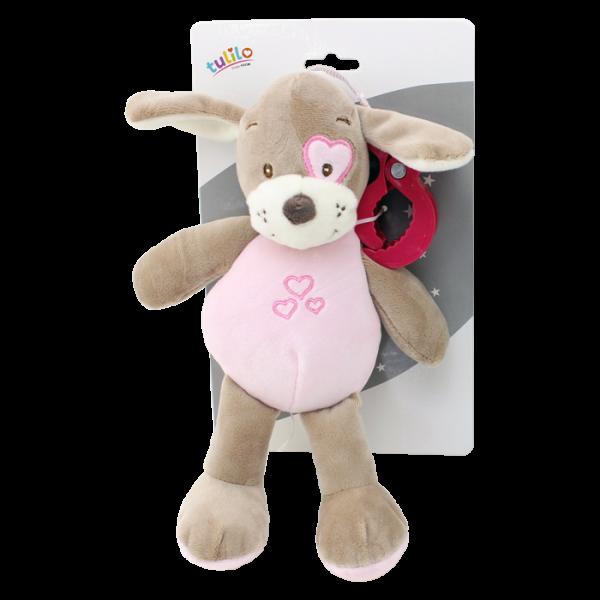 Závesná plyšová hračka Tulilo s hrkalkou Psík, 25 cm - ružový