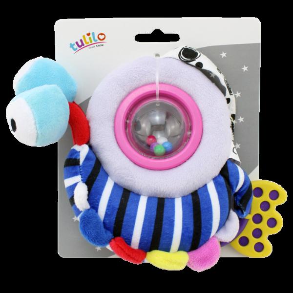 Plyšová hračka Tulilo s hrkálkou a hryzátkom Šneček, 18 cm