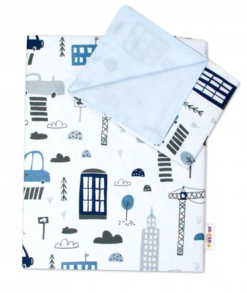 2-dielne bavlnené obliečky Baby Nellys, Mestečko - biele, 120x90 cm