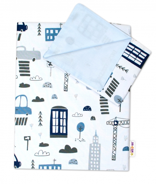 2-dielne bavlnené obliečky Baby Nellys, Mestečko - biele, 135x100 cm