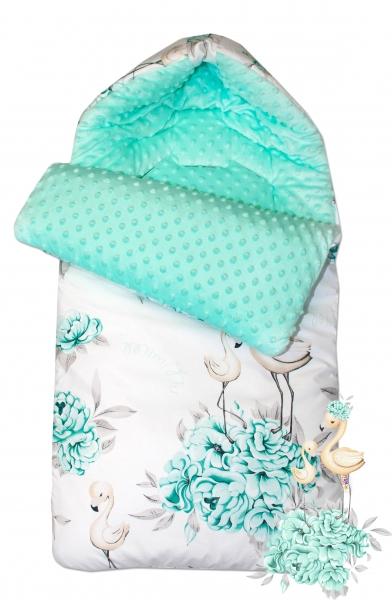 Bavlnený spací vak/fusák Baby Nellys, minky, Plameniak, 45 x 95 cm - mätový