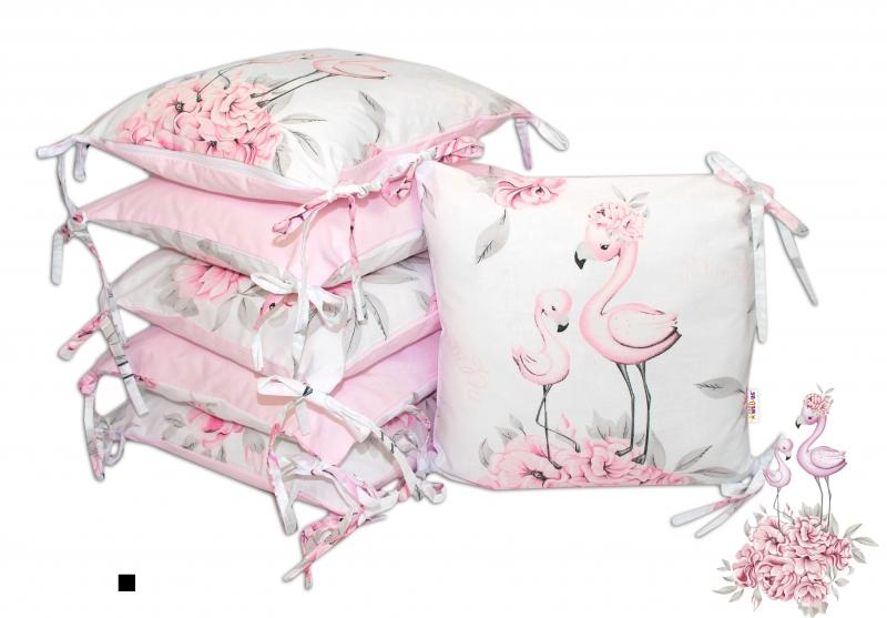 Bavlnený vankúšikový mantinel Baby Nellys Plameniak - ružový