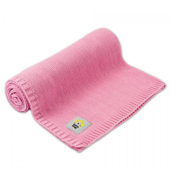 Detská bambusovo - bavlnená deka MBaby - Happy Bear, ružová